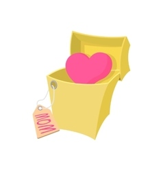 Gift box with a pink heart cartoon icon vector