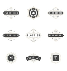 Royal logos design templates set flourish vector
