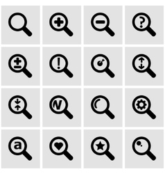 Black magnifying glass icon set vector