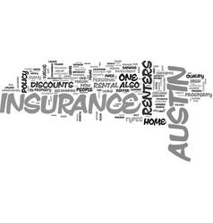 Austin renters insurance text word cloud concept vector