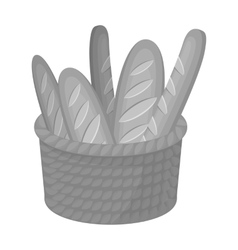 Basket of baguette icon in monochrome style vector