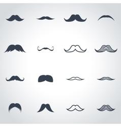 black moustaches icon set vector image
