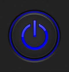 Black power button with blue backlight vector