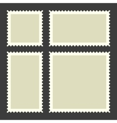 Blank postage stamps set on dark background vector