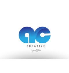 Blue gradient ac a c alphabet letter logo vector