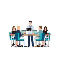 Business man presenting with laptop computer vector