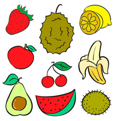 Collection of fruit colorful various doodles vector