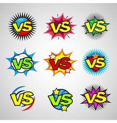 Comic book versus vintage sign icon set vector image
