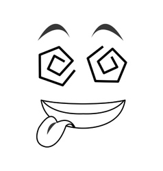 crazy tongue out emoticon face icons vector image
