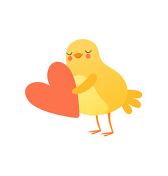 Cute baby chicken holding big red heart funny vector