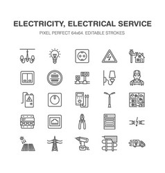 Electricity engineering flat line icons vector