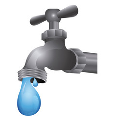 Faucet with water drop icon vector