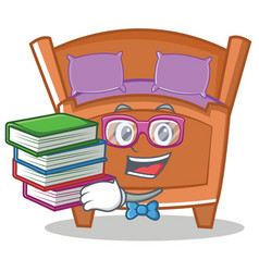 Geek cute bed character cartoon vector