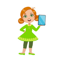 Girl standing showing her tablet part of kids and vector