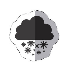 Gray silhouette sticker with cumulus of clouds and vector