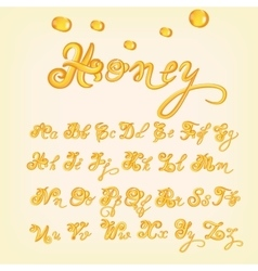 honey alphabet Shiny glazed letters vector image vector image