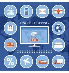 Internet shopping e-commerce online shopping set vector image vector image