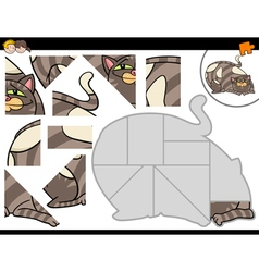Jigsaw puzzle activity with cat vector