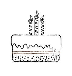 Line delicious pastel with candles to happy vector