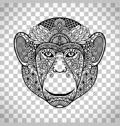 monkey face with ethnic motifs vector image vector image
