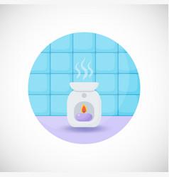 Oil burner flat icon vector