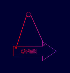 Open sign line icon with vector