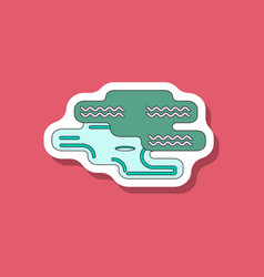 paper sticker on stylish background golf hole vector image