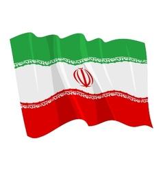 political waving flag of iran vector image vector image