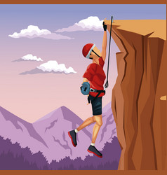 Scene landscape man hanging on the cliff anchored vector