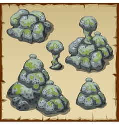 Several different piles of gray stones vector