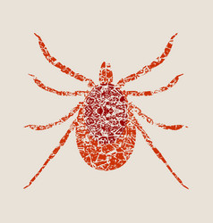 Silhouette of tick parasite sketch of mite vector
