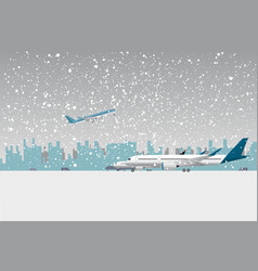 Snowfall in airport vector