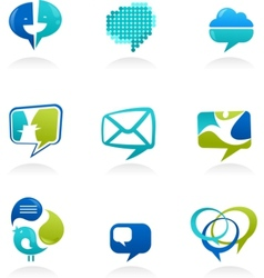 social media and speech icons vector image vector image
