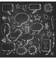 Speech bubbles doodles in black chalkboard vector image