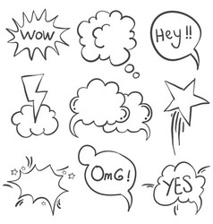 Style text balloon hand draw doodles vector