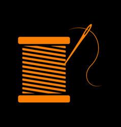 Thread with needle sign orange icon vector