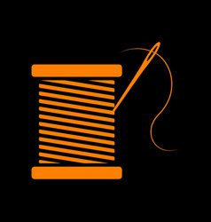 thread with needle sign orange icon vector image vector image
