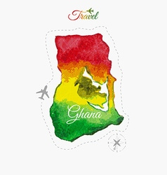 Travel around the world ghana watercolor map vector