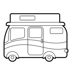 Travelling camper icon outline style vector