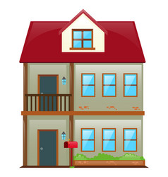 two stories house with red roof vector image