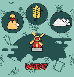 wheat flat concept icons vector image