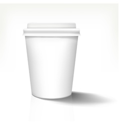 White realistic paper cup in front view with white vector image vector image