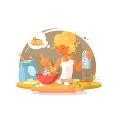 young blonde woman prepares meal vector image vector image