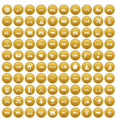 100 transport icons set gold vector image