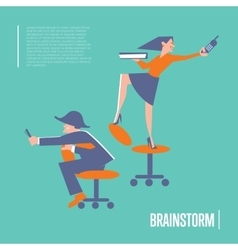 Brainstorm banner with business people vector