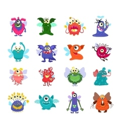 Flying cartoon monsters set for kids party vector