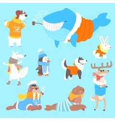 Arctic animals dressed in human clothes set of vector