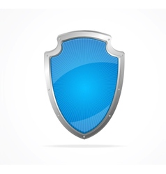 Empty metal shield blue vector