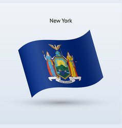 state of new york flag waving form vector image