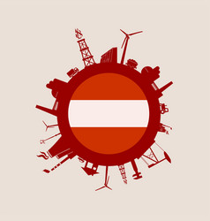 circle with industry relative silhouettes austria vector image